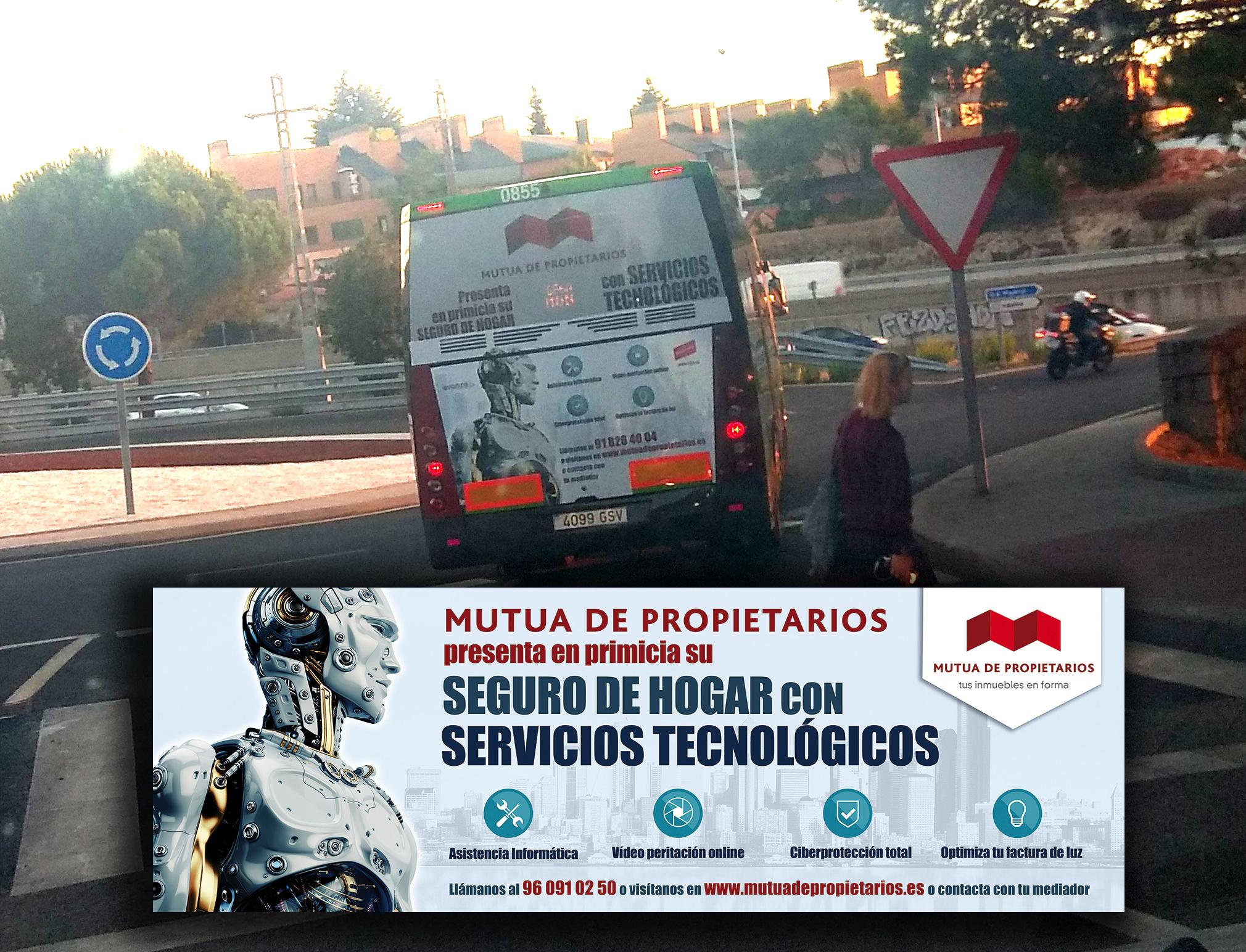 LOS AUTOBUSES DE MUTUA DE PROPIETARIOS RECORREN LAS CALLES DE MADRID